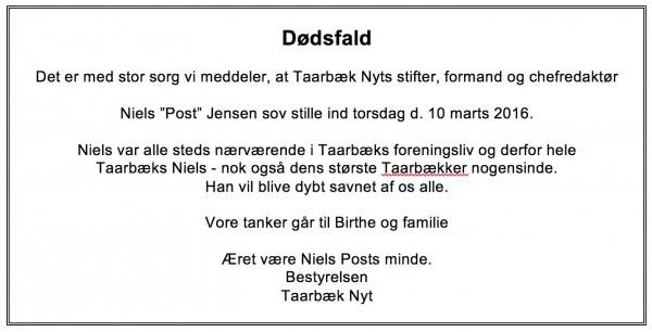 Niels Post er død